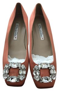 Oscar de la Renta Satin Designer Jeweled Luxury Orange Flats