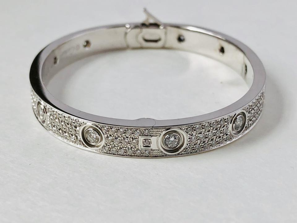 56092abfb45aae Cartier 18k White Gold Love Paved with Diamonds Size 17 Bracelet Image 10.  1234567891011