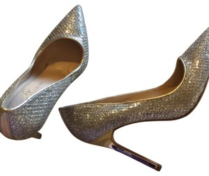 Ivanka Trump silver with gold accents Pumps