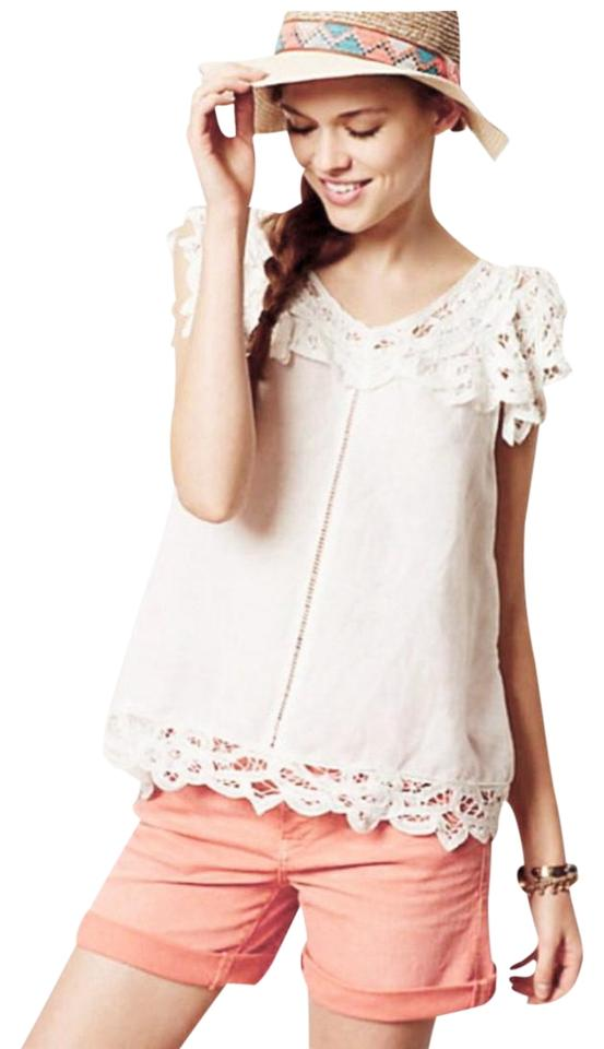 faf1c56f1d Anthropologie Cotton Linen Blend Lace Detaling Openwork Insert Cool + Femme  Classic Top Ivory Image 0 ...
