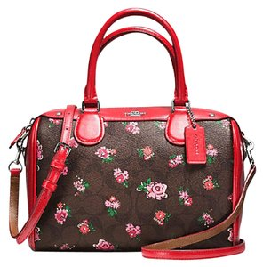 Coach Satchel in Brown / Red Multi