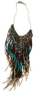 ZAD Turquoise cream and brown beaded fringe necklace