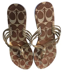 Coach Beige and gold Sandals