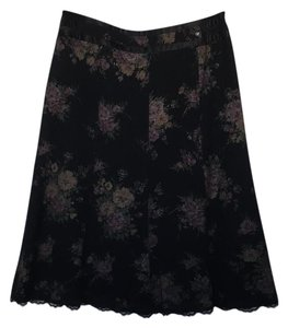 Other Skirt black with pink and green print