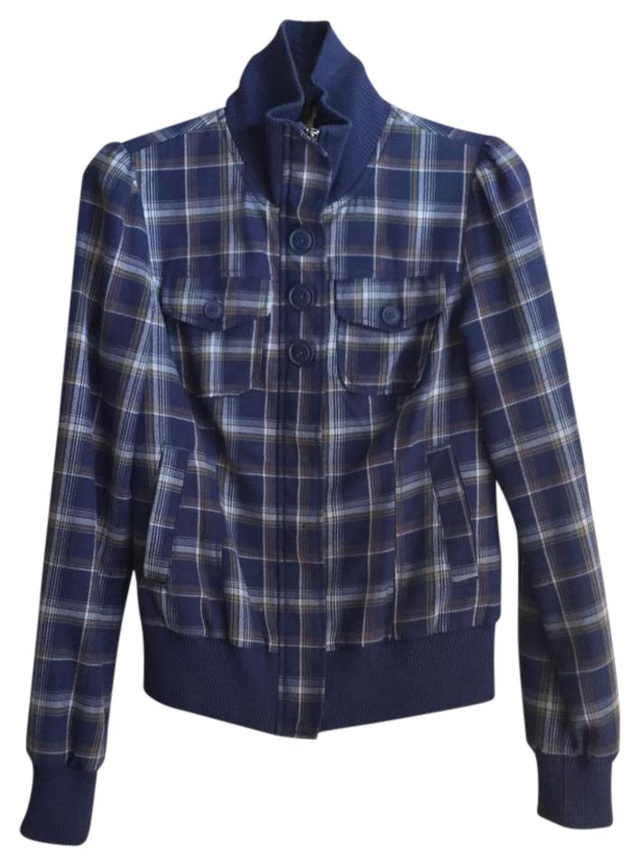 a183f29936 Rubbish Blue Nordstrom Plaid Bomber Jacket Size 4 (S) - Tradesy