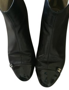 Chanel Patent Leather Toe Leaher Short Zip black Boots