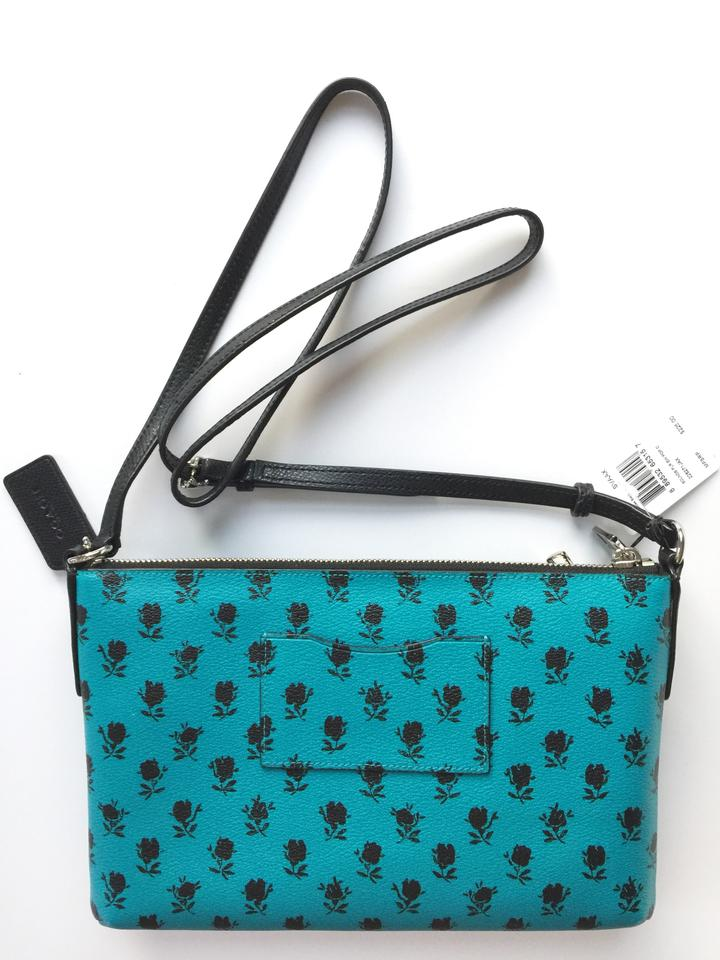 2f7c92795c362 Coach F38159 Badlands Floral East West with Pop Up Pouch Turquoise ...
