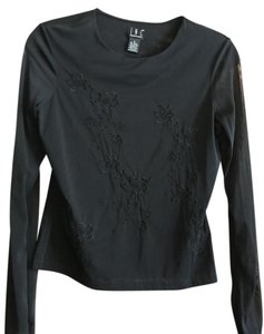 INC International Concepts Party Sheer Tight Fitting Top Black