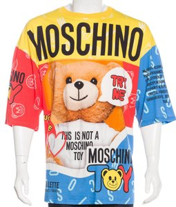 Moschino Monogram Logo Print Cotton Teddy Bear T Shirt Grey, Beige, Multicolor