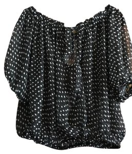 Love Stitch Sheer Vintage Polka Dots / Ladylike Top Black and white