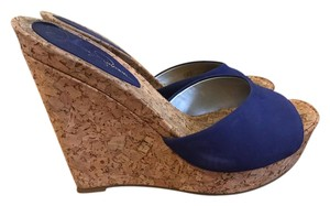 Jessica Simpson Blue and Cork Wedges