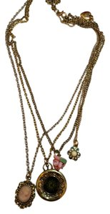 Betsey Johnson New Betsey Johnson Four Chain Necklace Cameo Rose J3326