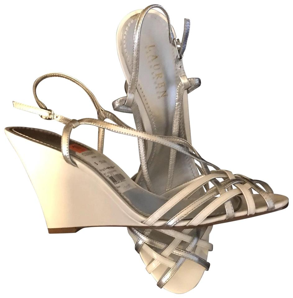 03f8a5b0be7 Lauren Ralph Lauren White and Silver The Berdy Sandal Wedges Size US ...
