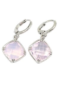 Ocean Fashion Square pink crystal pendant earrings