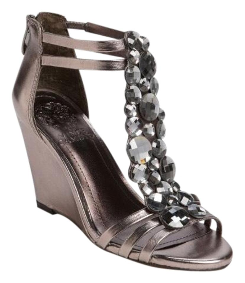 cb85f30a5abe Vince Camuto Leather Embellished Metallic Steel Sandals Image 0 ...
