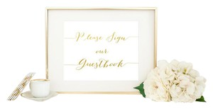 Gold & White Wedding Sign - Please Sign Our Guestbook