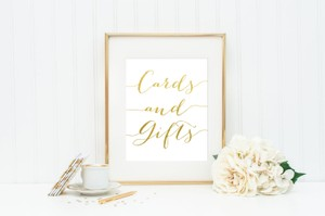 Gold & White Wedding Sign - Cards And Gifts