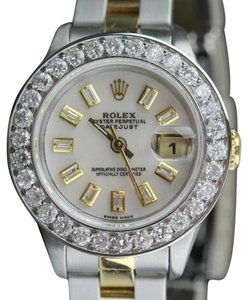 Rolex 2.5CT LADIES ROLEX DATEJUST GOLD S/S WATCH W/ ROLEX BOX & APPRAISAL
