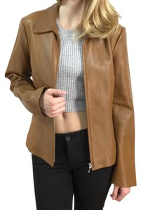 Ann Taylor camel-colored Leather Jacket