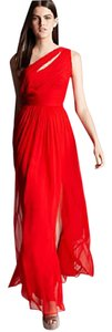 Monique Lhuillier One Silk Ruby Gown Evening Dress