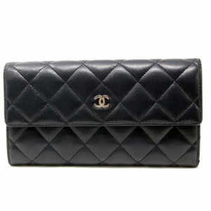 Chanel CHANEL Quilted 2.55 Matelasse CC Logo Bifold Long Wallet Lambskin