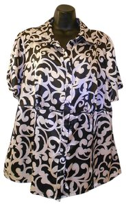 Apt. 9 Silky Scroll Graphic Top Black and Cream