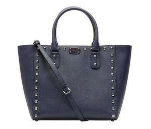 Michael Kors Jet Set Item Snap Pocket Jet Set Travel Tote in Navy gunmetal