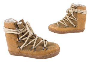 Isabel Marant Shearling Leather Ankle Camel Boots
