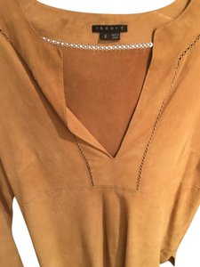 Theory Suede Long Sleeve Vneck Top Tan