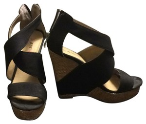 JustFab black tan with gold hardware Wedges