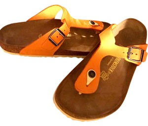 Birkenstock Leather Orange Sandals
