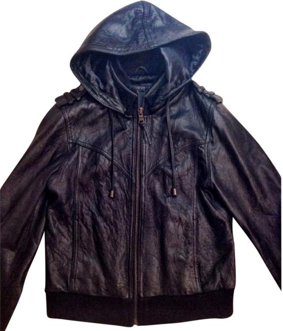 Item - Black Hooded Bomber In Jacket Size 0 (XS)