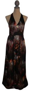 Brown Floral Maxi Dress by H&M Maxi Halter Full Length Floral