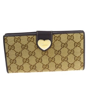 Gucci GUCCI Heart Long Bifold Wallet Purse Leather