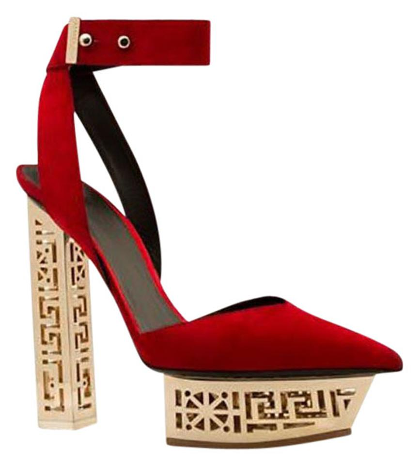 49dcb05b2aa Versace Red New  greek Platform Suede Platform Sandals Size US 10 ...