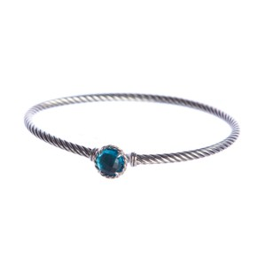 David Yurman Chatelaine Bracelet with Blue Topaz 3mm Size Medium $325 NEW