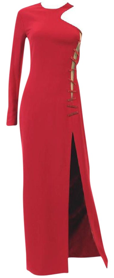 514afe7a41cfdf Versace Red New Crystal-embellished Silk-cady Gown Long Formal Dress ...