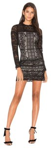 Parker Lace Long Sleeve Frill Sheath Dress