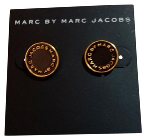 Marc Jacobs New Marc Jacobs Black Gold Round Stud Earrings J3337