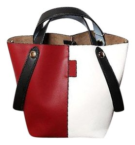 Young Villagers Color Collision Shopping Tri-color Leather Tote in Red/White/Black