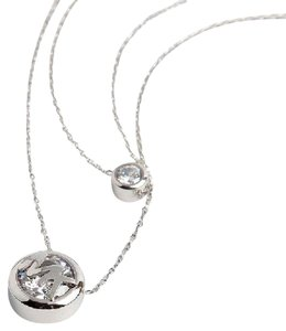 Michael Kors Michael Kors Two Tone Double Row Crystal Logo Necklace Silver