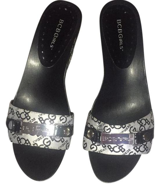 Item - Black Grey Silver W Sale Chanel Style Wedge On Bcbg Signature W/ I.d. Name Plate Mules/Slides Size US 10 Regular (M, B)