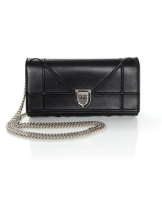 Dior Woc Wallet On Chain Leather Silver Hardware Cross Body Bag
