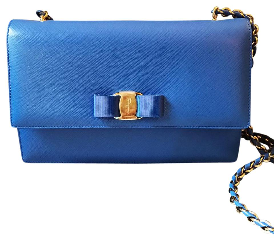 Salvatore Ferragamo Ginny Blue Indie Saffiano Leather Shoulder Bag ... bdbba576557d3