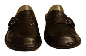 Clarks Black Leather Mules