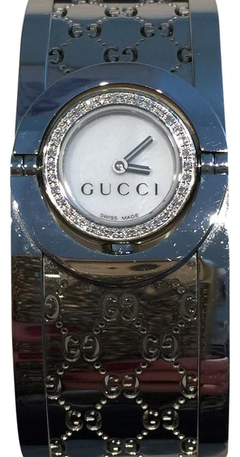 Gucci Silver Ladies Twirl Mother Of Pearl Diamond Bezel Watch Gucci Silver Ladies Twirl Mother Of Pearl Diamond Bezel Watch Image 1