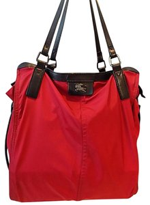 Burberry Leather Buckleigh Tote in Red