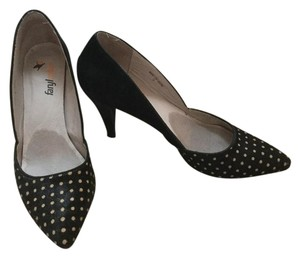 Farylrobin Suede Pony Hair Black and polka dots Pumps