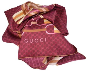 Gucci New Gucci 263753 Bordeaux Horsebit Web Belts GG Guccissima Silk Scarf