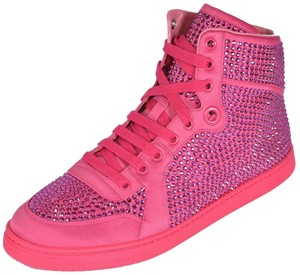 Gucci Crystal High Top Sneakers Bright Pink Athletic